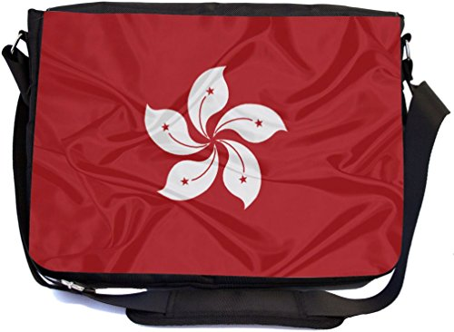 Rikki Knight Hong Kong Flag Design Combo Multifunction Messenger Laptop Bag - with Padded Insert for School or Work - Includes Wristlet & Mirror