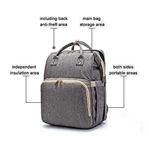 4 in 1 Diaper Bag, Multifunctional Baby Portable Foldable Cot Bed, Mummy Bag Baby Nappy Changing Bags, Baby Backpack…