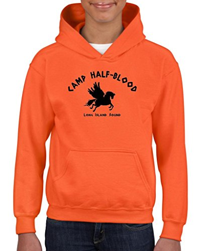 Xekia Camp Half-Blood Cool Demigods Long Island Hoodie For Girls and Boys Youth Kids Large Orange
