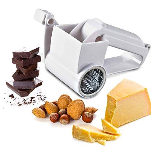 Verona Summer Multipurpose Rotary Cheese Vegetable Grater Cutter Slicer Shredder Including 3 Independent Stainless Steel Drums Grate Slice Or Shred Cheeses Vegetables Chocolate and Other Foods