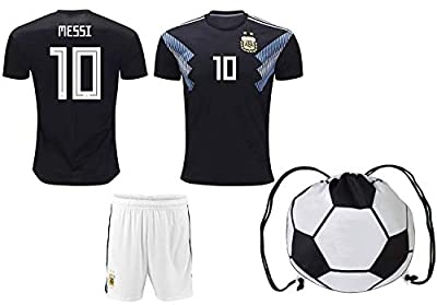 Lionel Messi Argentina #10 Kids Soccer Jersey and Shorts World Cup Kit All Youth Sizes