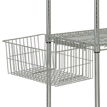 quantum storage systems ub10 utility basket for wire shelving units chrome finish 7