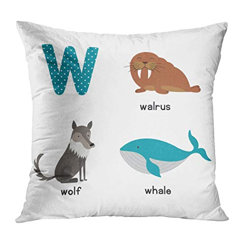 Qryipd Throw Pillow Cover Cute Animal Zoo Alphabet Letter W Comfortable Living Room Print Sofa Bedroom Polyester Hidden Zipper Pillowcase Cushion Cover 18x18 Inch