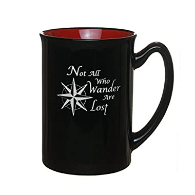 Not All Who Wander Are Lost  with Compass Graphic 14oz Engraved Coffee Tea Mug Cup / Birthday Gift / By Celery Street. (Marco Red)