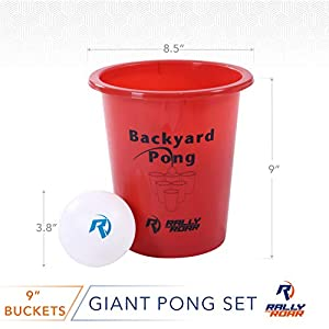 Jumbo Beer Pong Set for Outdoors – Fun Drinking Games for Adults, College Kids – Jumbo Cup and Pong Throwing Game for Yard, Party, Bar, Lawn, Backyard, Tailgating – Fun Outside Games
