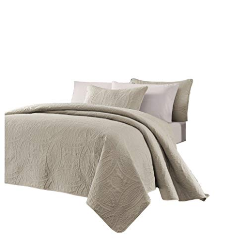 Chezmoi Collection Austin 3-Piece Oversized (118″x106″) Bedspread Coverlet Set King, Khaki