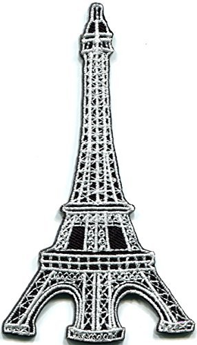 Eiffel Tower Paris France French landmark white embroidered embroidered applique iron-on patch - Eiffel France Tower