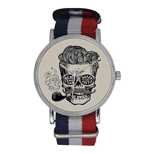 Indie Simple Nylon Strap Watch,Hipster Gentleman Skull with Mustache Pipe and Eyeglasses with Inscription Vintage for Men,Case Diameter: ()