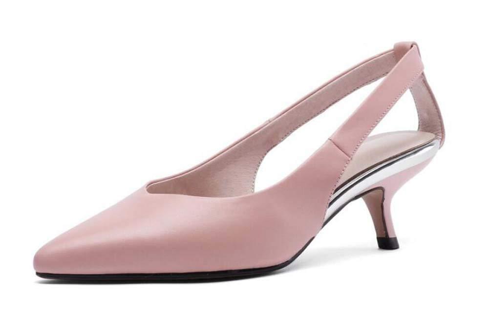 Rose GLTER Femmes Pointé Slingback 2019 été Nouvelle Mode Sandales en Cuir à Talons Bas Taille 33-43 35 EU