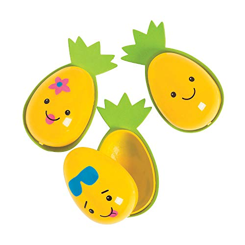 Fun Express - Pineapple Character Easter Eggs for Easter - Party Supplies - Containers & Boxes - Plastic Containers - Easter - 12 Pieces]()