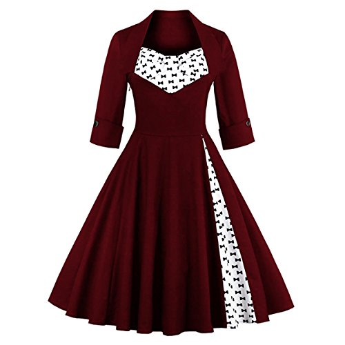 50er M1323 Cocktail Kleid Rot Schmetterling XL Vintage Retro DISSA 42 Damen Wein Rockabilly EU qa6UUR