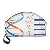 Half Moon Cosmetic Beauty Bag,DNA Bases Chemistry Biochemistry Biotechnology Science Spiral Symbol Genetic for Women & Girls School Travel Office
