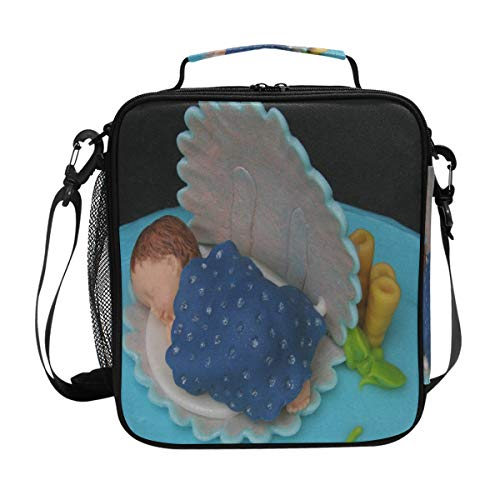 Baby Shower Cake Lunch Bag Womens Insulated Lunch Tote Containers Zipper Square Lunch Box for Kids Men]()