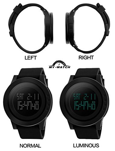 My Watch Men's Digital Watch Black Waterproof Sport Timing Multifunctional Stopwatches 12H/24H Wrist with LED Back Light Large Face