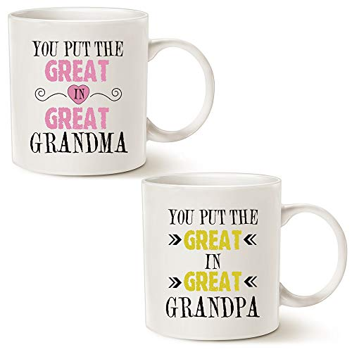 MAUAG Grandparent Coffee Mug Christmas Gifts, You Put the Great in Great Grandma/Grandpa Best Birthday Presents for Grandparent Grandma Grandpa Cup White, 11 Oz