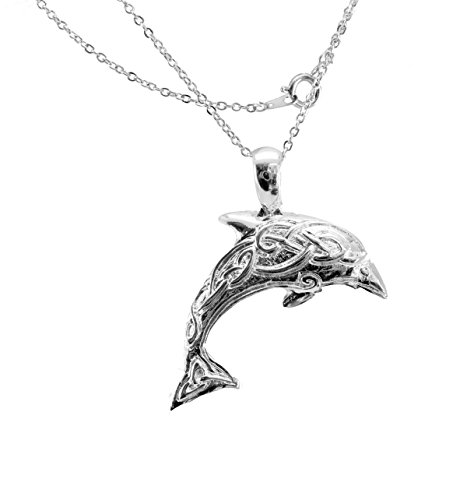 (Dolphin Silver Plated Pendant with Celtic Design)
