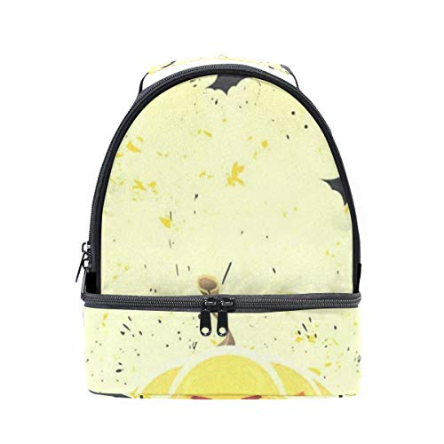 Insulated Lunch Bag Reusable, Grungy Halloween With Pumpkins And Bats Sling Shoulder Lunch Tote Travel Picnic Drawstring Bento Cooler Bag Double layer]()