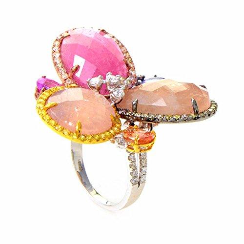 Luxury Bazaar 18K White Gold Diamond & Multi Colored Sapphire Flower Ring CRR9759 - Multi Colored Sapphire Flower