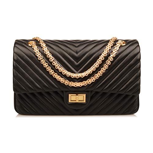 (Ainifeel Women's Genuine Leather Quilted Hobo Handbags Shoulder Bag On Clearance (Large, Black (gold hardware)))