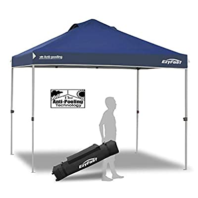 EzyFast Patented Antipool Instant Beach Canopy Shelter for Rain or Sunshine, Portable 10ft x 10ft Straight Leg Pop Up Shade Tent with Wheeled Carry Bag