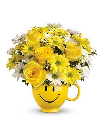 Smiley Mug Bouquet - Same Day Get Well Soon Flowers Delivery - Get Well Soon Flowers - Get Well Bouquet - Sympathy Flowers - Get Well Soon Presents