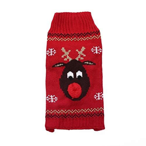 Lighting S Direct 7 Size Christmas Holiday Classic Pet Dog Apparel Clothes,Snow Classic Ugly Snowflake Warm Sweater-Red 2XL