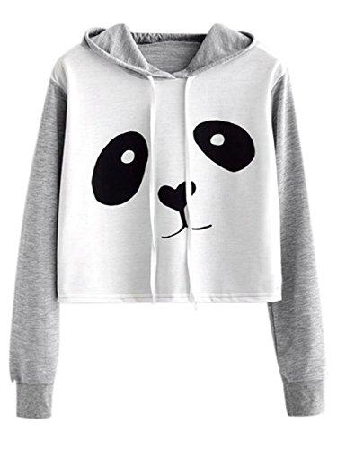 NarZhou Panda Crop Top Hoodie, Women Teen Girl Polyester Cute Panda Patchwork Pullover Top Sweatshirt
