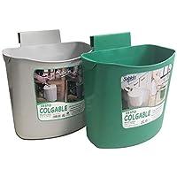 Paquete con 2 botes colgables de Sablón para múltiples usos (verde y gris). Se pueden colgar en puertas, cajones, mamparas, etc.