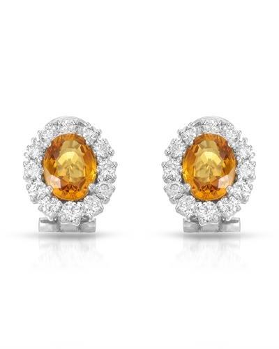 14K White Gold Yellow Sapphire & Round Diamond Earring ()