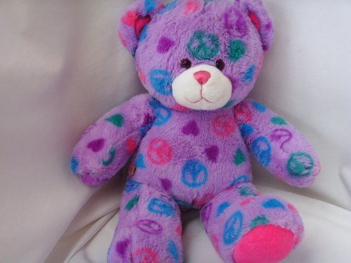 Baby Boomer 60s Peace Teddy Bear Purple Plush Toy 15