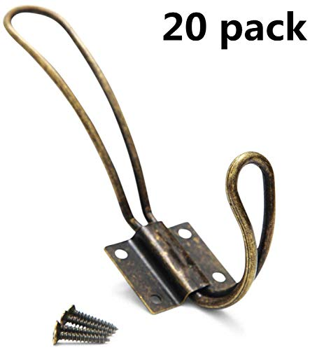 Rustic Coat Hooks Wall Mounted - 20 Pack of Vintage Double Coat Hangers with Large Metal Screws Included - Hard Antique Industrial Heavy Duty Hook Set - Best for Farmhouse Shabby Chic Hanging Look -