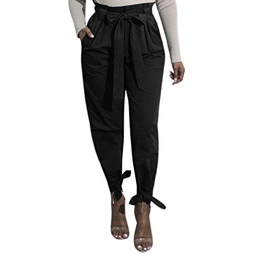 Bowknot Ceinture LAEMILIA Taille Crayon avec Slim Noir Femme Dcontract Casual Pantalon Cordon Haute wtBxBpqI