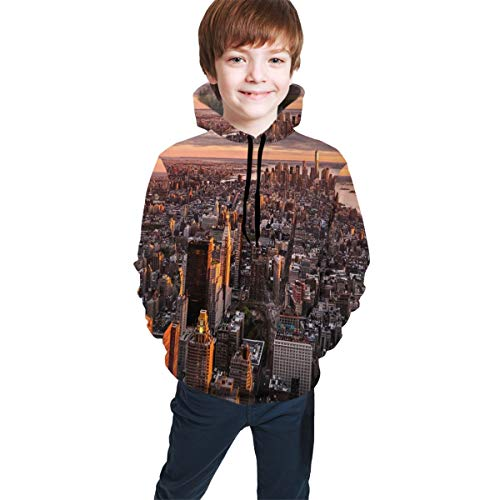 Teen Hooded Sweatshirts,Aerial View of The Manhattan Skyline at Sunset Famous Financial District NYC M (Best School Districts In Manhattan Nyc)