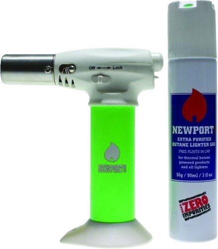 NEWPORT JR TURBO CHARGED TORCH & BUTANE CAN COMBO NTJR057 GREEN - Combo Newport