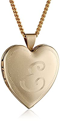 "18k Gold Plated 26mm (1"") Personalized with Initial Heart Chain Locket Necklace, 24"""