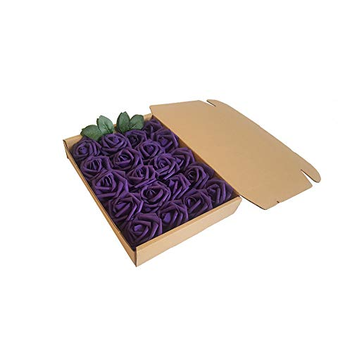 Deep Purple De Rose - Eternal Blossom Artificial Flower Rose 8cm, Fake Flower Stem 20pcs Real Touch Artificial Roses for DIY Bouquets Wedding Party Home Decorations (Deep Purple)