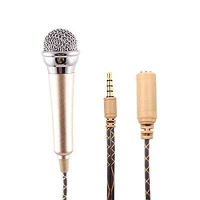 EbuyChX Metal Mobilephone Mini Portable 3.5mm Jack Stand punasan ng espongha Sleeve pampalapot Microphone Gold Tone