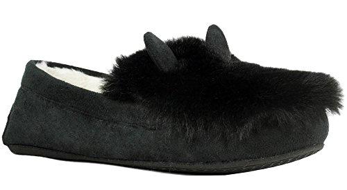 Rinfrescare Calzature Donna Accogliente Foderato In Pile Caldo Inverno Orecchio Orecchio Animale Pantofola Nera