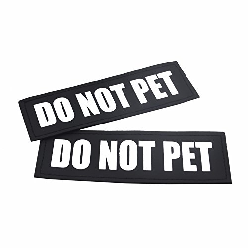 2 Pack Reflective Service Dog Patches with hook back for Pet Collar Vest Harness - 3 Sizes (DO NOT PET, M:4.9