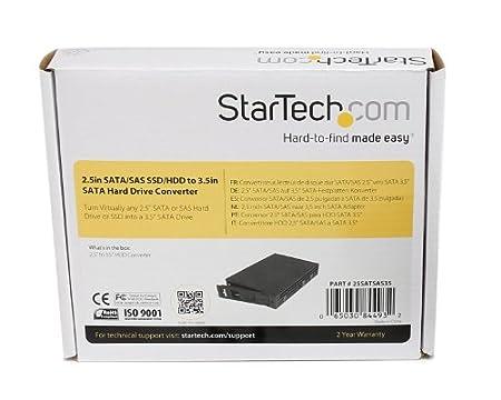 Bay 2.5-3.5 SATA Hard Drive Adapter Enclosure with Raid Silver Black JBOD Aluminum StarTech.com 35SAT225S3R Dual
