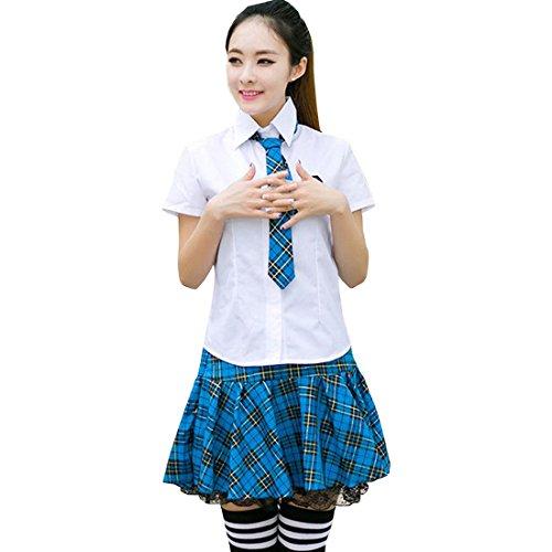 Partiss Japan Schuluniform Maedchen Kostuem Cosplay Lolita gotische Langarm Anzug Mantel Bluse mit Faltenrock fuer Party