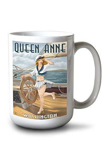 Lantern Press Queen Anne, Washington - Pinup Girl Sailing (15oz White Ceramic Mug)