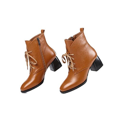 Temperament With Boot Lace Leather Leisure Simple and Slim Women Ankle Bootie Cotton Shoes BROWN-34 R1yWZfjk