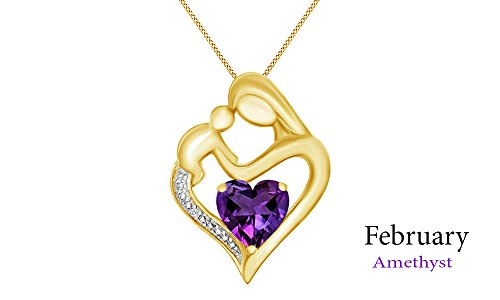 Jewel Zone US Simulated Amethyst & White Natural Diamond Accent Mother & Child Heart Pendant in 14k Yellow Gold Over Sterling Silver (11/10 ()