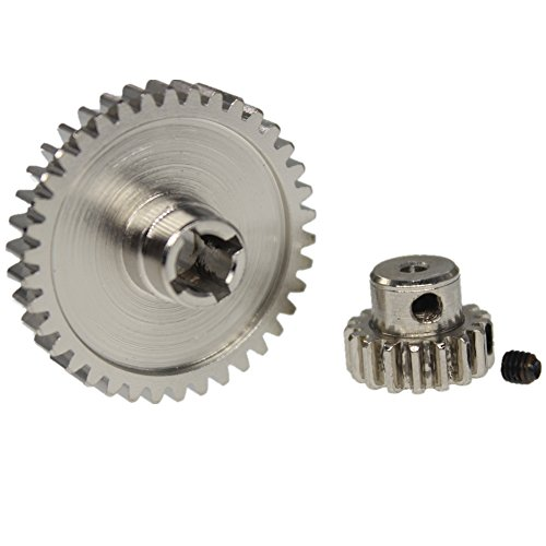 38t Gear (Hobbypark Metal Diff Main Gear 38T & Motor Pinion Gear 17T For RC 1/18 WLtoys A959 A949 A969 A979 Replacement of A949-24 RC Car Buggy Upgrade Parts)
