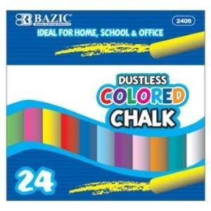 3 Pk, BAZIC Dustless Assorted Colored Chalk, 24 Per (Assorted Colored Chalk)