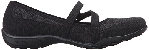 Flat Trim Easy Lovestory Mesh Mary Black Jane Charcoal Sport Women's Knit Skechers Breathe pq077Z