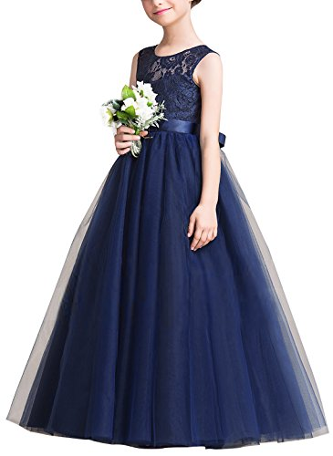 Big girls Vintage Lace Bridesmaid Dress Dance Ball Party Maxi Gown Navy Blue 4-5T Christmas Ball Gowns