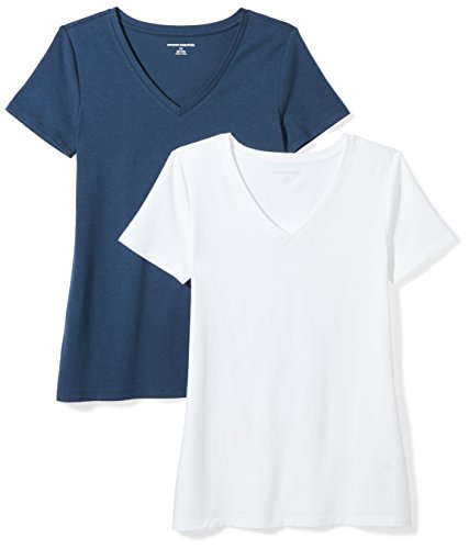 Amazon Essentials Women's 2-Pack Classic-Fit Short-Sleeve V-Neck T-Shirt, Navy/White, XX-Large