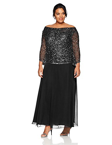 J Kara Women's Plus Size Long Beaded Dress with Cowl Neck, Black/Gun/Mercury, 18W